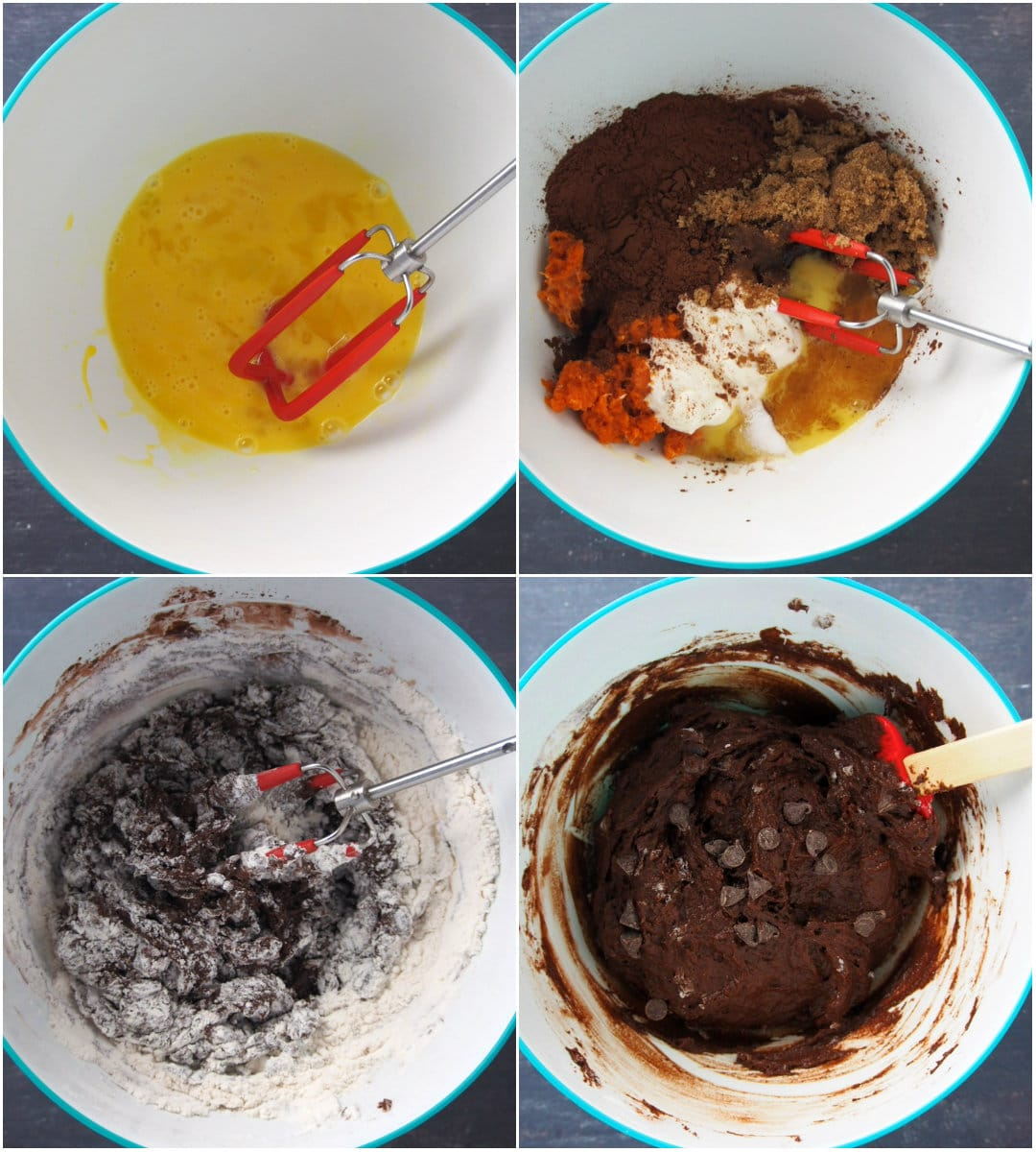 Process collage showing how to mix the pumpkin chocolate bread batter.