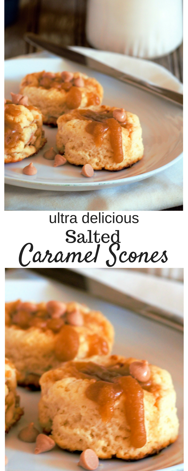 Salted Caramel Scones give you the perfect flavor contrast as the sweetness and saltiness blend beautifully in this delightful, buttery treat! #scones #caramel