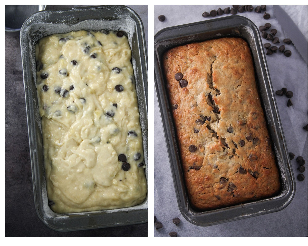 The chocolate banana bread before and after baking.