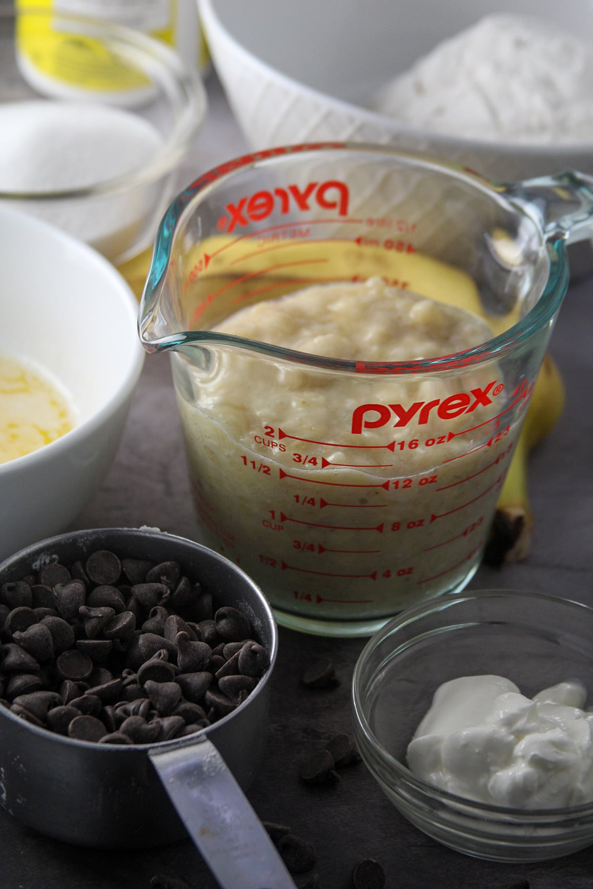 The ingredients for Chocolate Banana Bread.