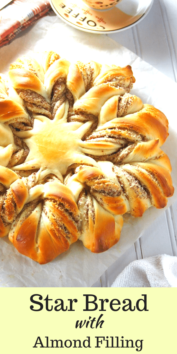 Not only pretty but really delicious! This Almond star bread is made of soft bread and filled with a chunky almond paste filling. This is your beautiful center-piece for your holiday table. #almondbread #starbread #almondpaste | Woman Scribbles