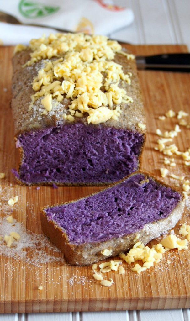 Ube Taisan is a plain and simple version of an ube cake but it is definitely a delightful treat on its own. Topped with grated cheese and sugar, every slice of this is heaven!