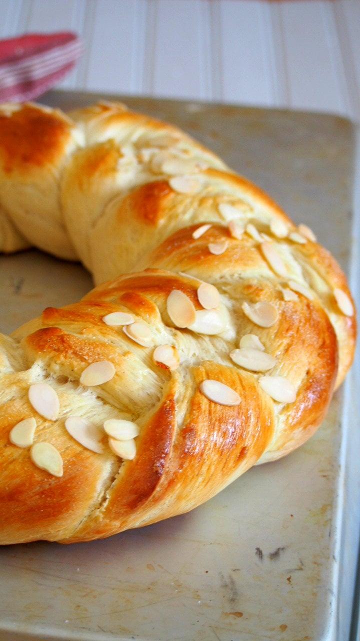 Close up shot of Finnish Pulla bread.