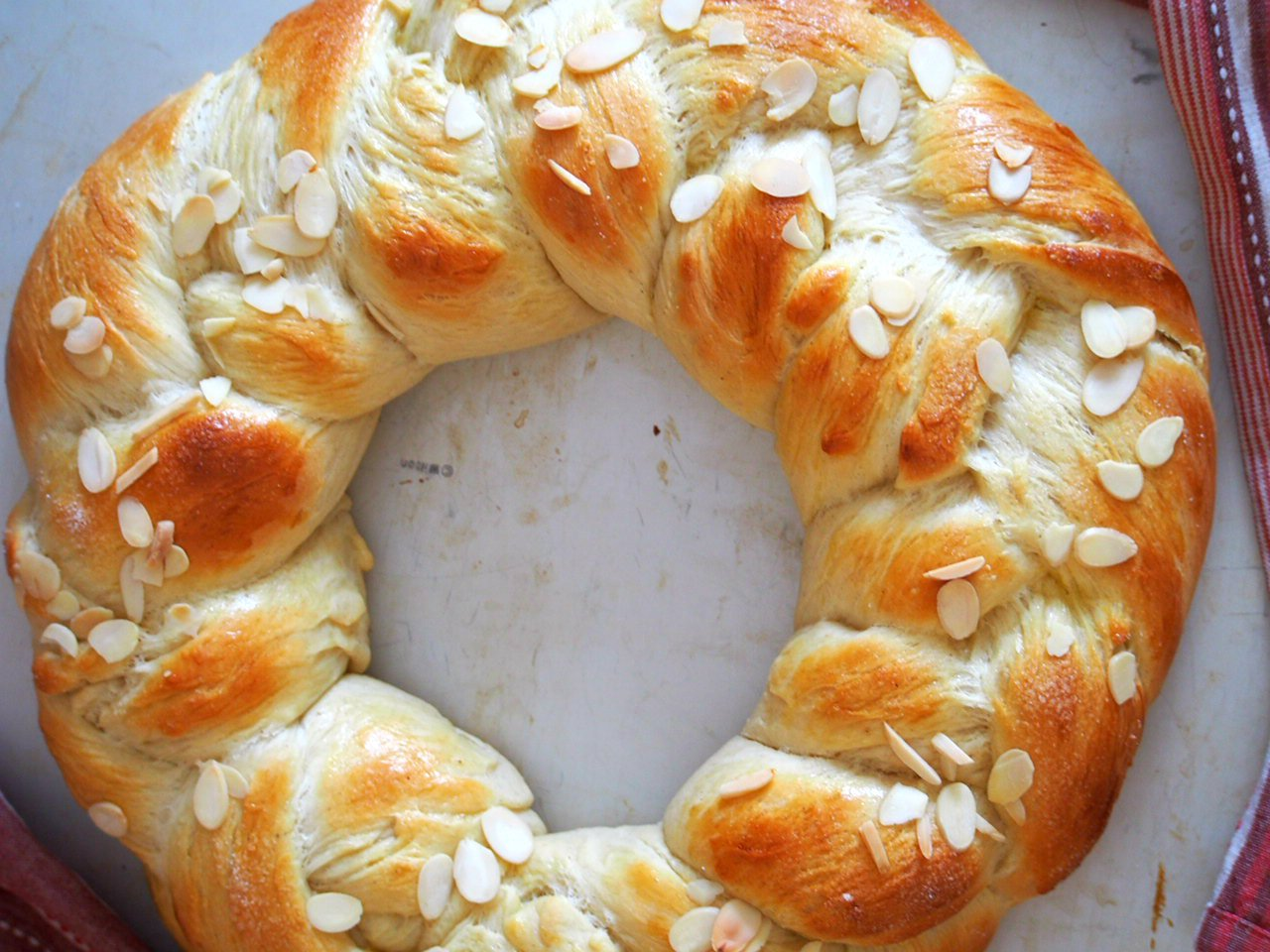 Another shot of the Finnish Pulla Bread, top angle.