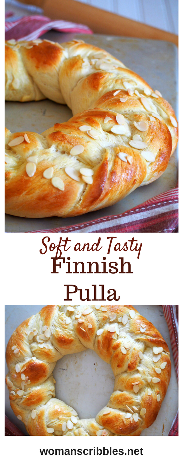 Finnish Pulla is a celebration bread braided beautifully like a wreath. It gets its nice flavor from the cardamom and it is adorned with crunchy almonds as finishing on top. #pulla #bread