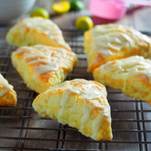 Honey scones on a wire rack,
