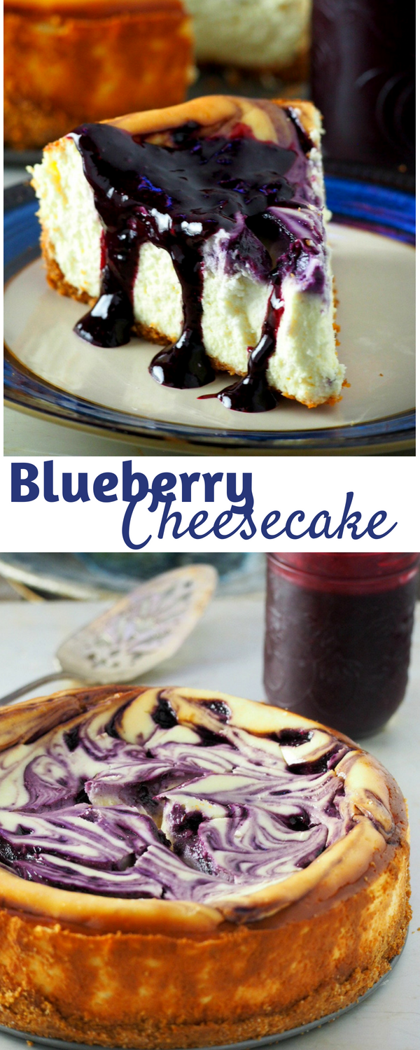 With blueberry swirls and a generous drizzling of blueberry syrup upon serving, this Blueberry Cheesecake is just the perfect one you will ever need! #cheesecake #desserts #blueberry #summer