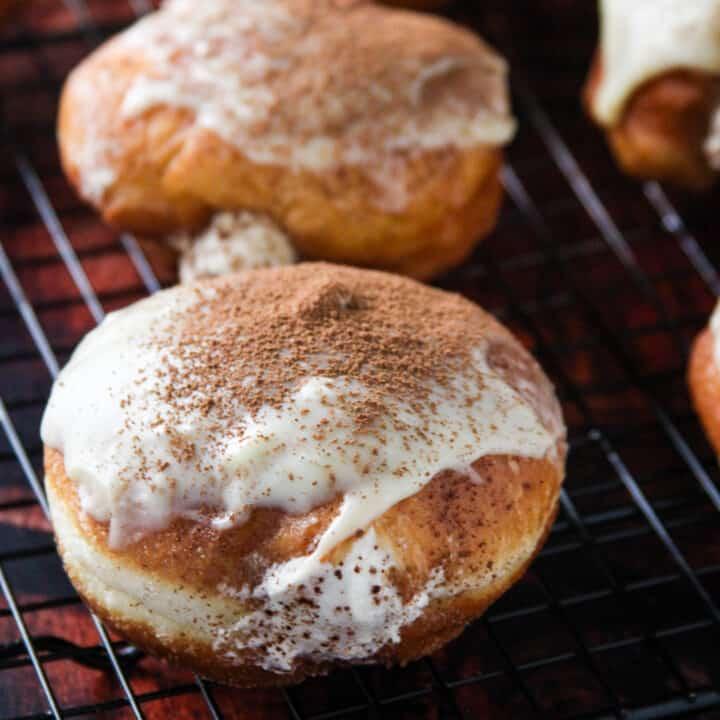 Close up shot of Tiramisu Donuts.