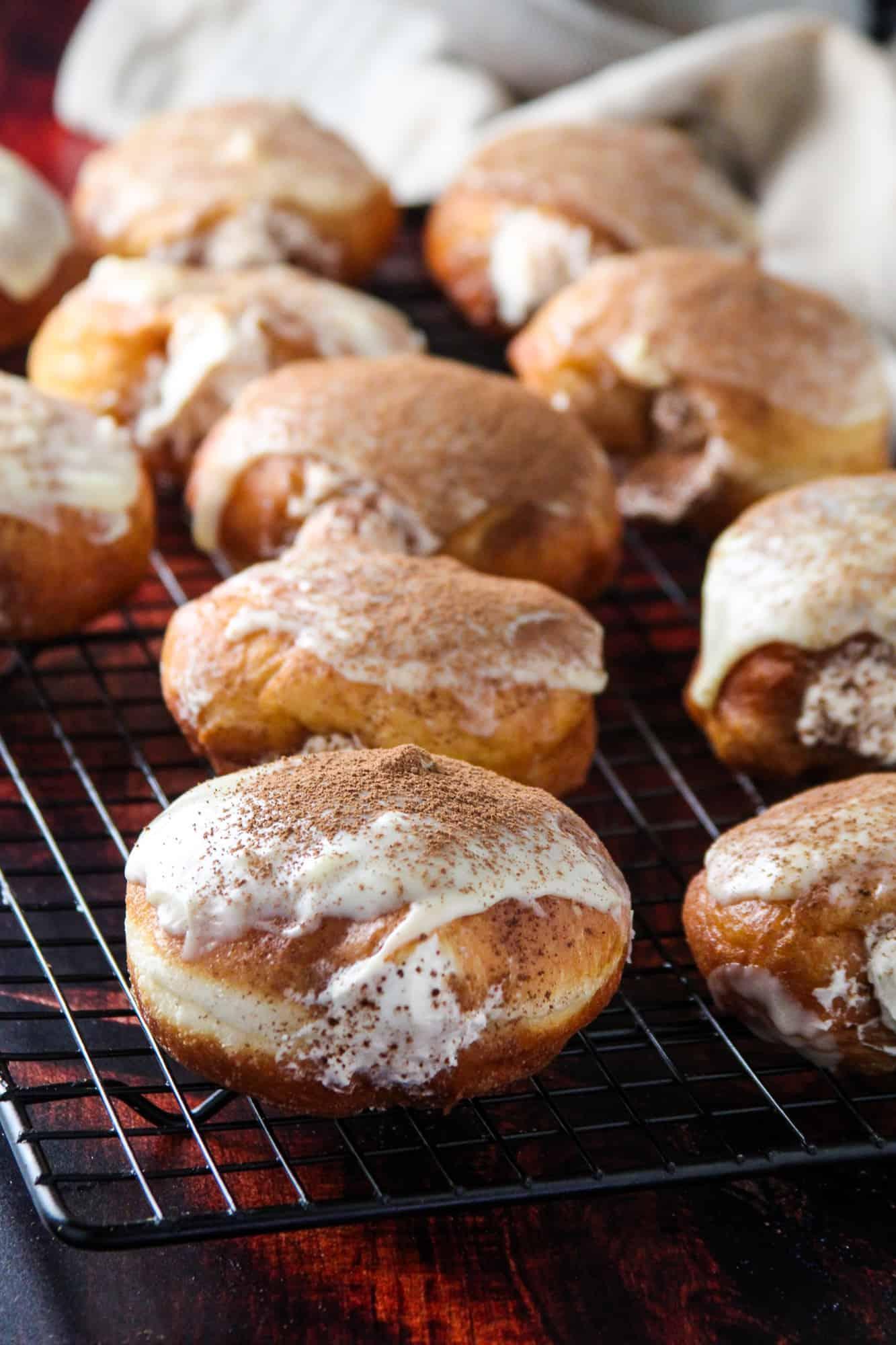 Tiramisu Donuts on wire rack
