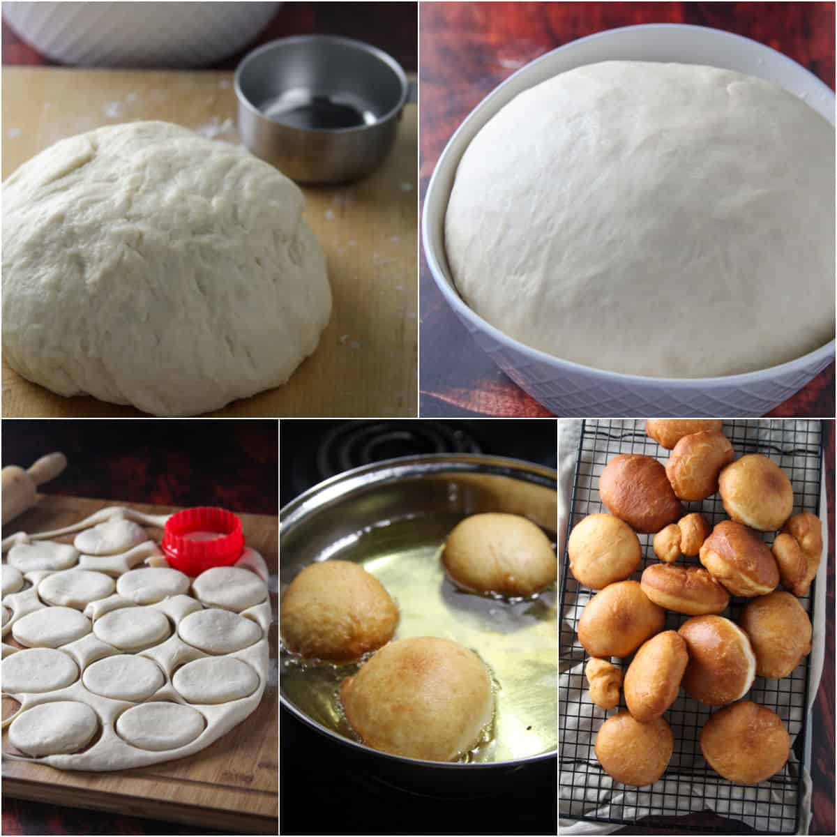 A collage showing the dough rising, cutting, and frying the tiramisu donuts.