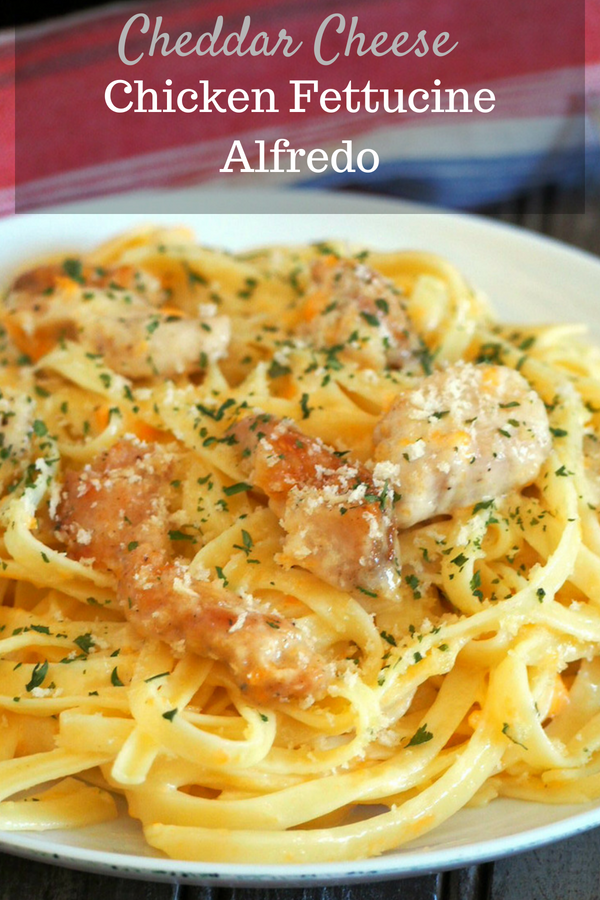 No parmesan? No problem! This Cheddar Cheese Chicken Fettuccine Alfredo is a tasty and classy meal that is done in no time. This is your perfect pasta on a weekday- fast, easy and delicious. #pasta # fettuccine #alfredopasta #cheddarcheese #Chickenpasta