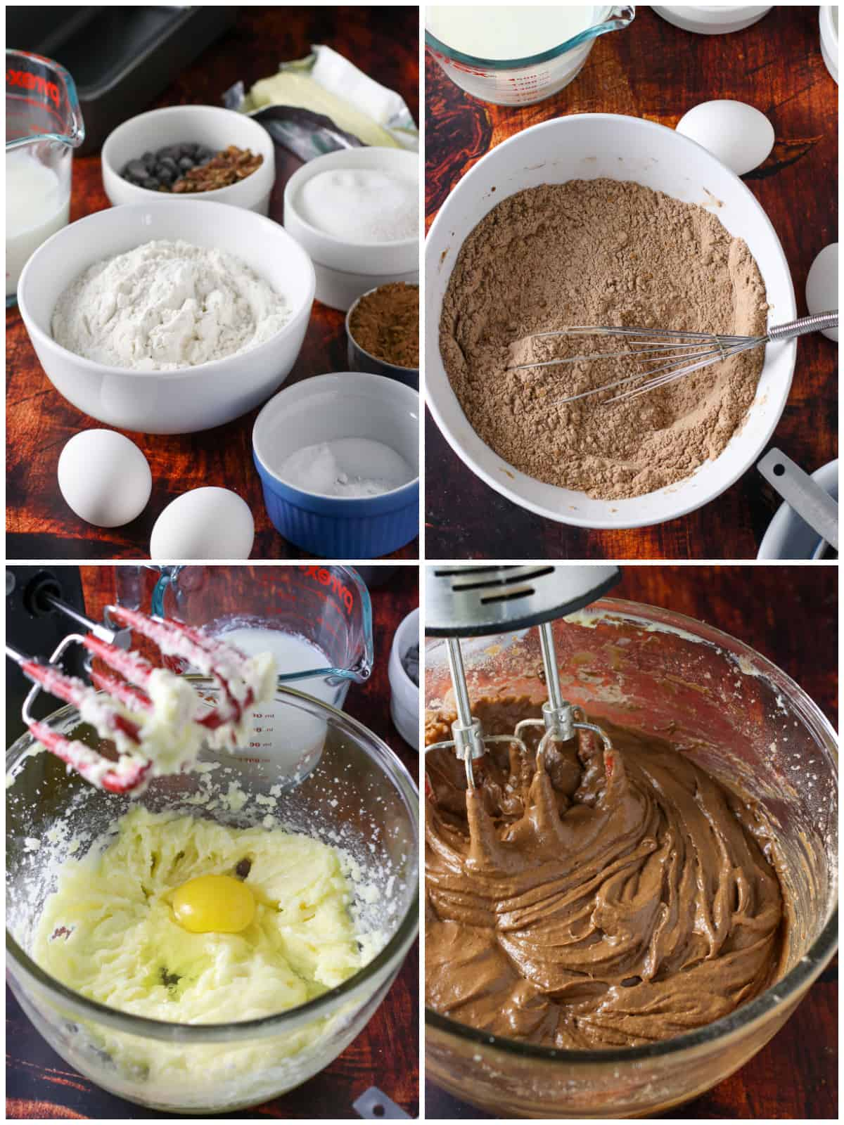 A collage showing how to make the chocolate chip loaf bread batter.