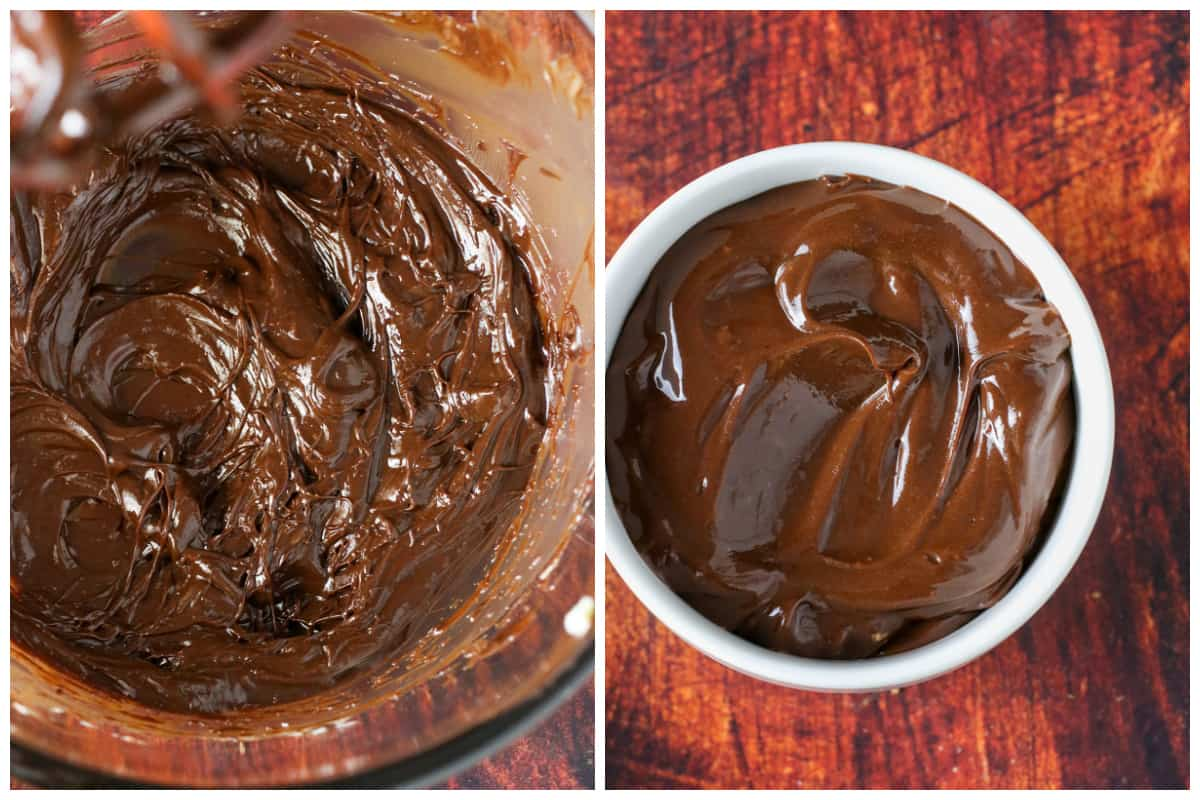 A collage showing the mixing of the chocolate honey butter.