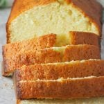 Lemon Loaf cake is sliced and ready to be served.