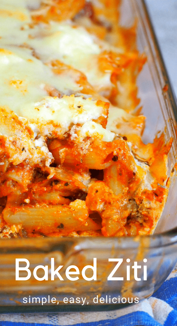 Meaty, tasty and cheesy, You will love this simple Baked Ziti for a hearty meal that the whole family will enjoy! #pasta #ziti #mozzarella #ricotta