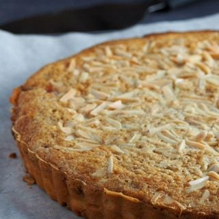 Bakewell Tart is a grand dessert made of a sweet shortcut pastry filled with a wonderful layering of raspberry jam, frangipane and flakes of almond.