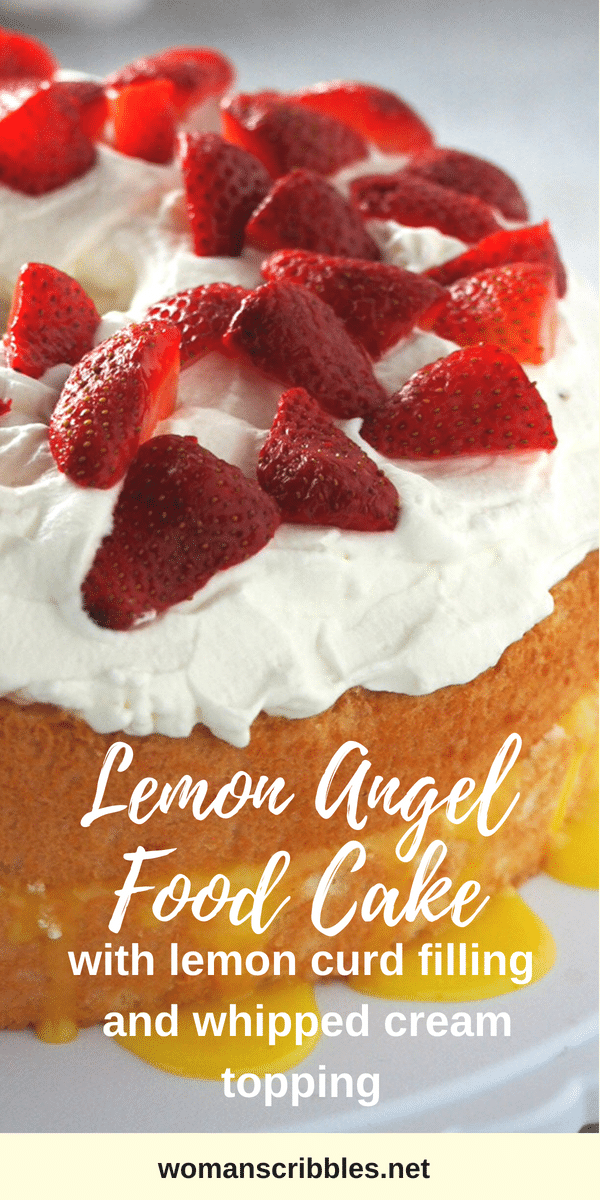 Enjoy this Lemon Angel Food Cake with Lemon Curd Filling- the cottony soft angel food cake is filled with a splash of bright flavor from the lemon curd, then finished with a whipped cream topping. #lemoncurd #lemon #angelfoodcake