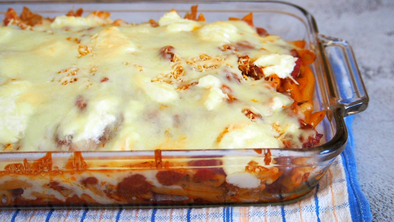 Fresh from the oven Baked Ziti with the melty cheese on top.