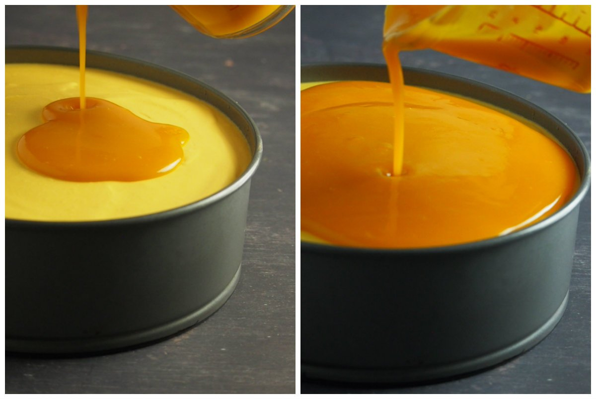 Mango gel topping is being poured on top of a set mango mousse.