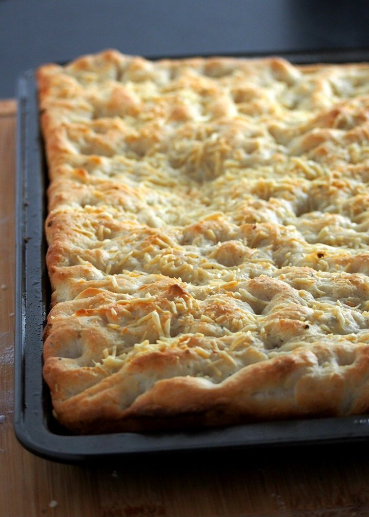 Freshly baked Easy Focaccia bread warm from the oven.