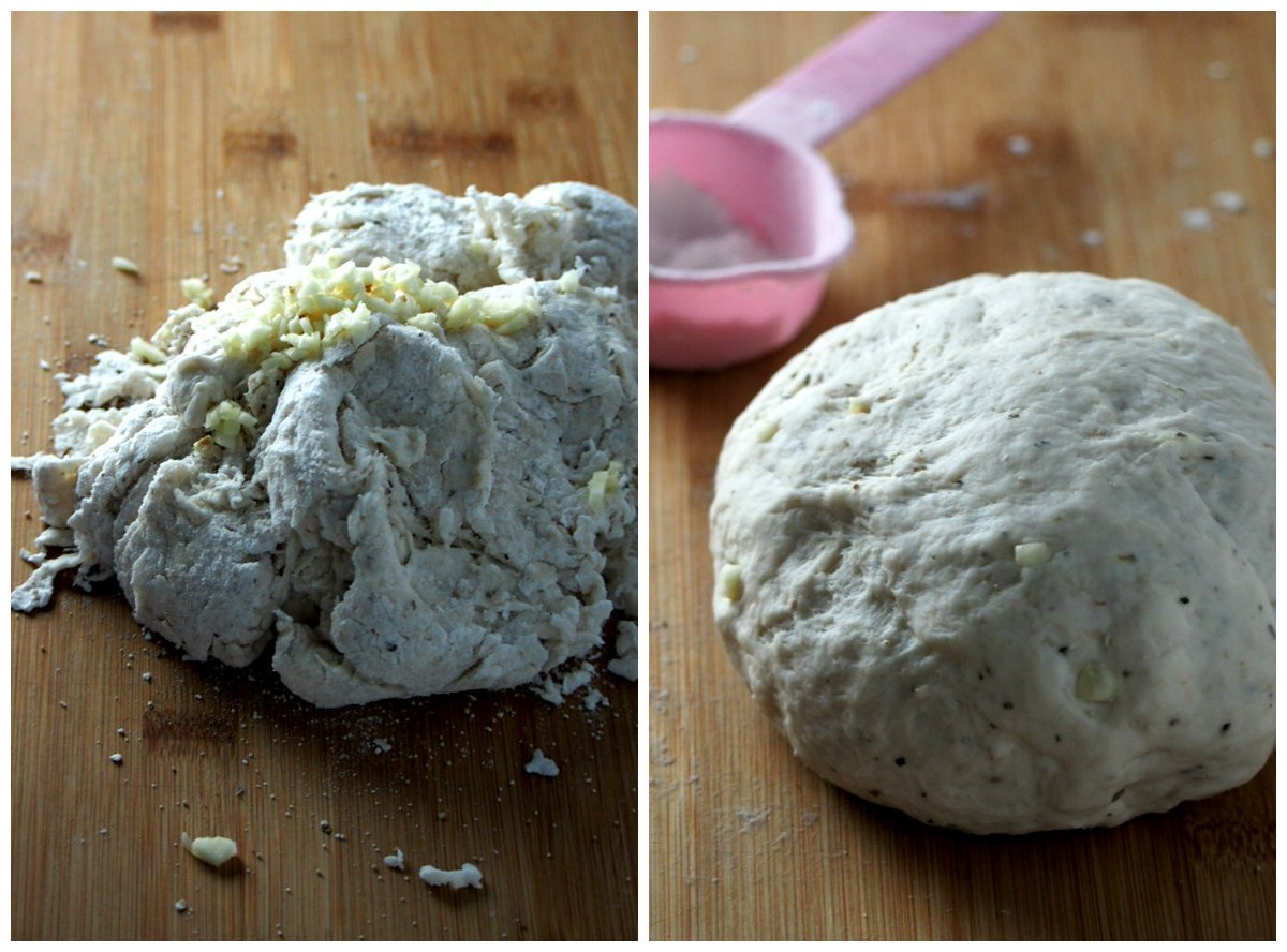 Photos of the dough of easy focaccia bread, one is before kneading and the one after the dough was kneaded, that is from shaggy to smooth.
