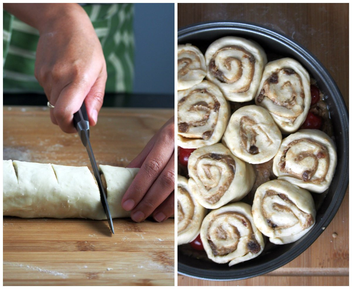 Roll the dough into a tight log, and cut into 11 or 12 portions. Arrange each portion on the baking pan.