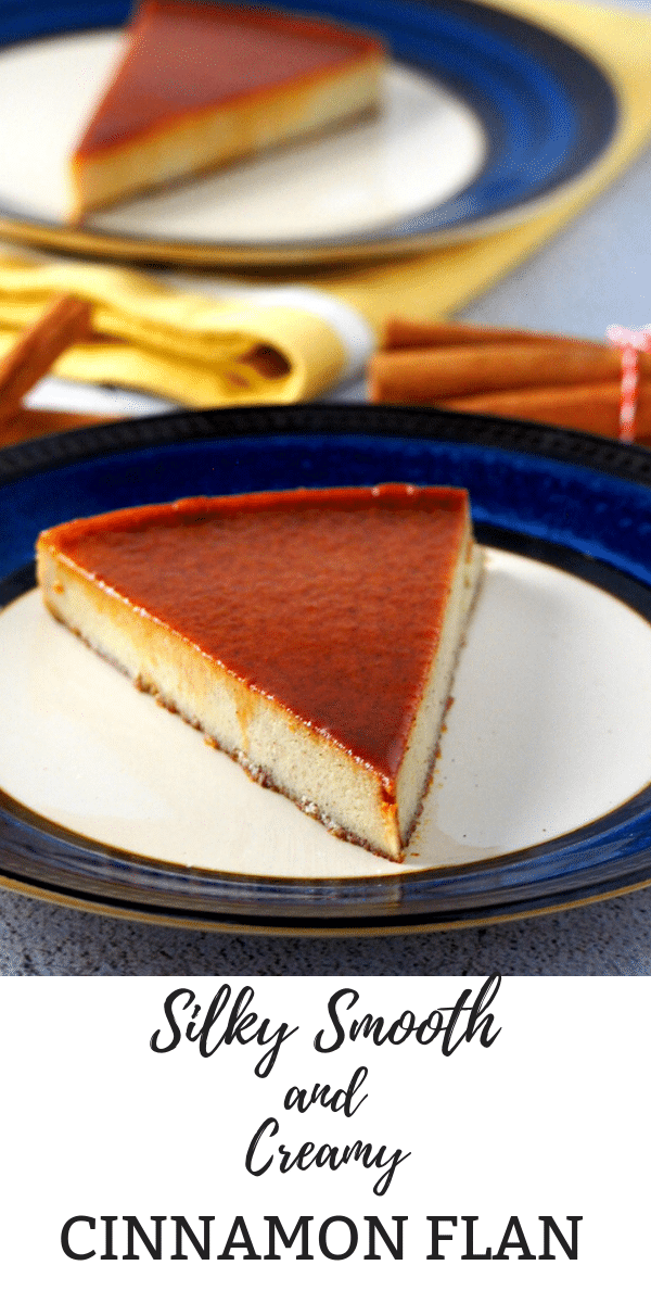 So creamy and smooth! This simple Cinnamon flan is a great dessert made of a simple custard that is infused with Cinnamon and topped with sweet caramel. #Cinnamondessert #custard #CinnamonRecipes #Cinnamonpie