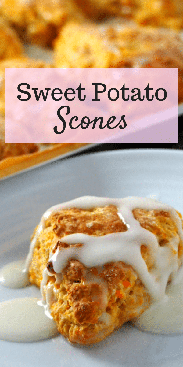 These Sweet Potato Scones are cakey on the inside and tender-crisp on the outside. You will love these mildly sweet and buttery treats for breakfast or snack. They are a simple Fall treat! #Sweetpotato #scones #falldesserts