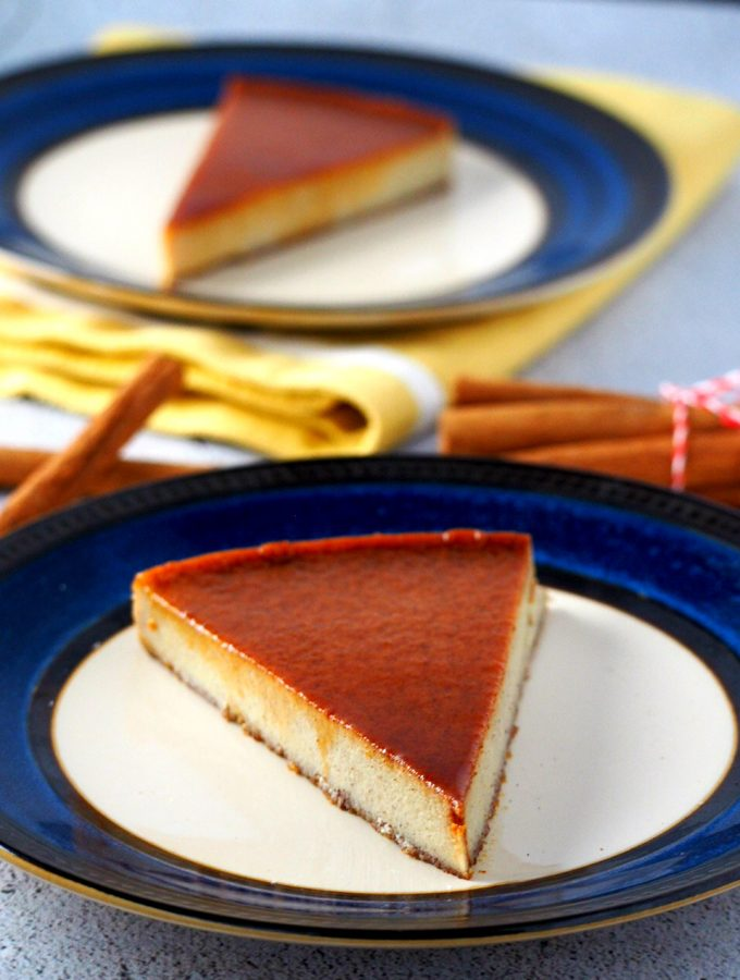 Close up view of Cinnamon Flan slice.