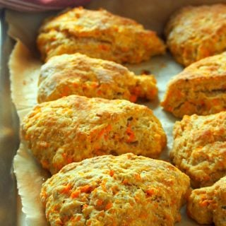 A freshly baked tray of sweet potato scones