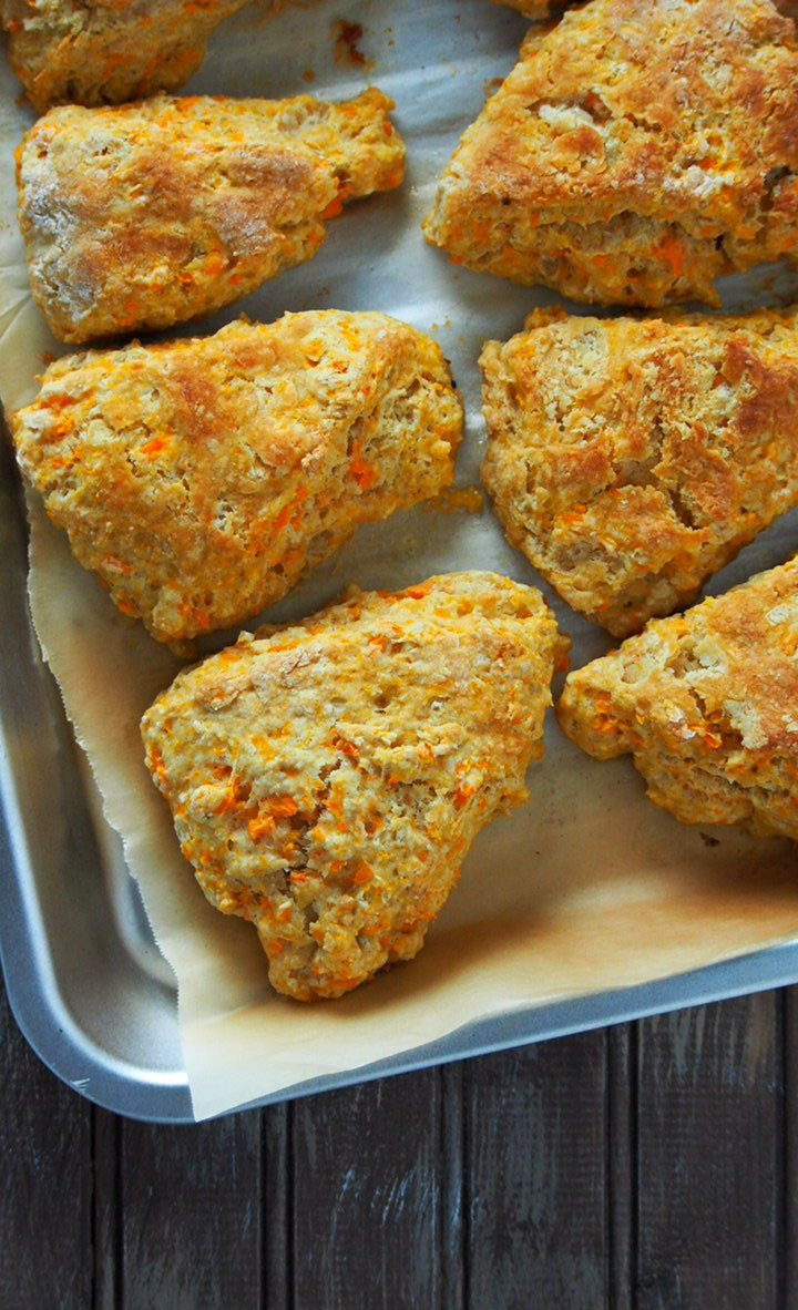 Top and close up view of sweet potato scones.