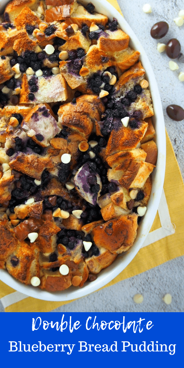This Double Chocolate Blueberry Bread Pudding is a total breakfast treat. Blueberries, chocolate chips and milky bread pudding base, this will be your new favorite! #blueberries #BreadPudding # ChocolatebreadPudding #Breakfast #BlueberryDesserts | Woman Scribbles