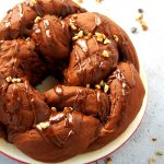 Chocolate Bread Wreath with Walnuts and Chocolate Glaze