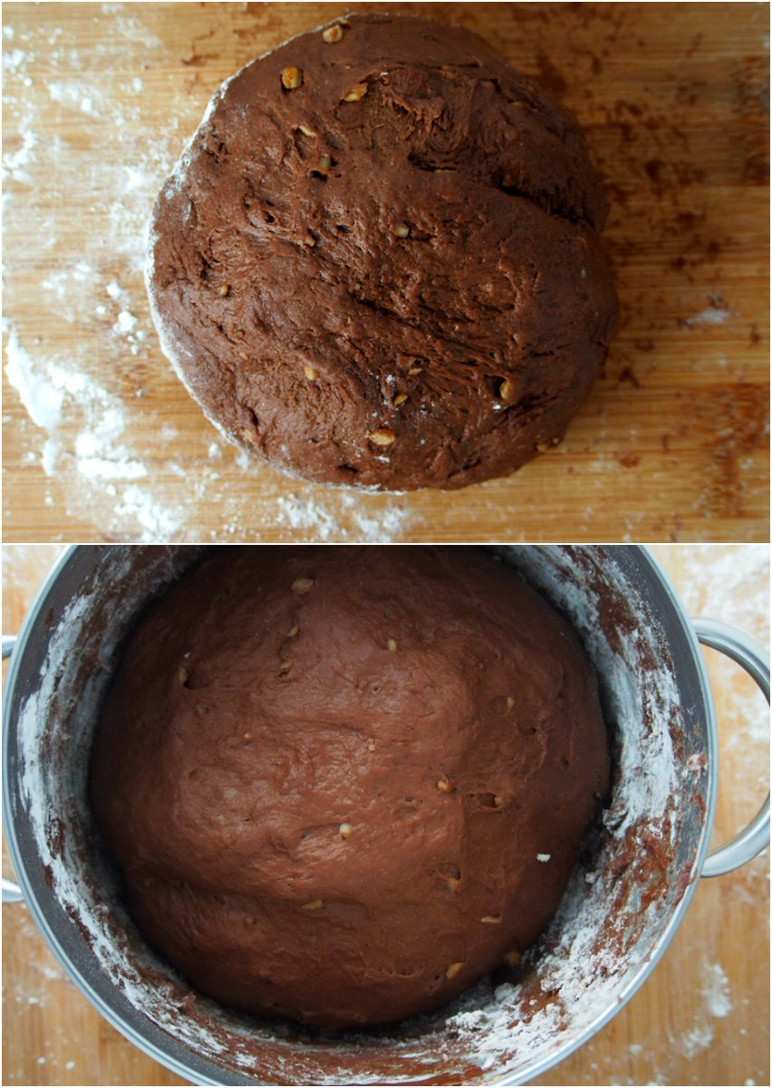 The dough of chocolate bread dough before and after proofing.