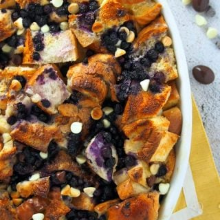 CLose up and top view of double chocolate blueberry bread pudding.