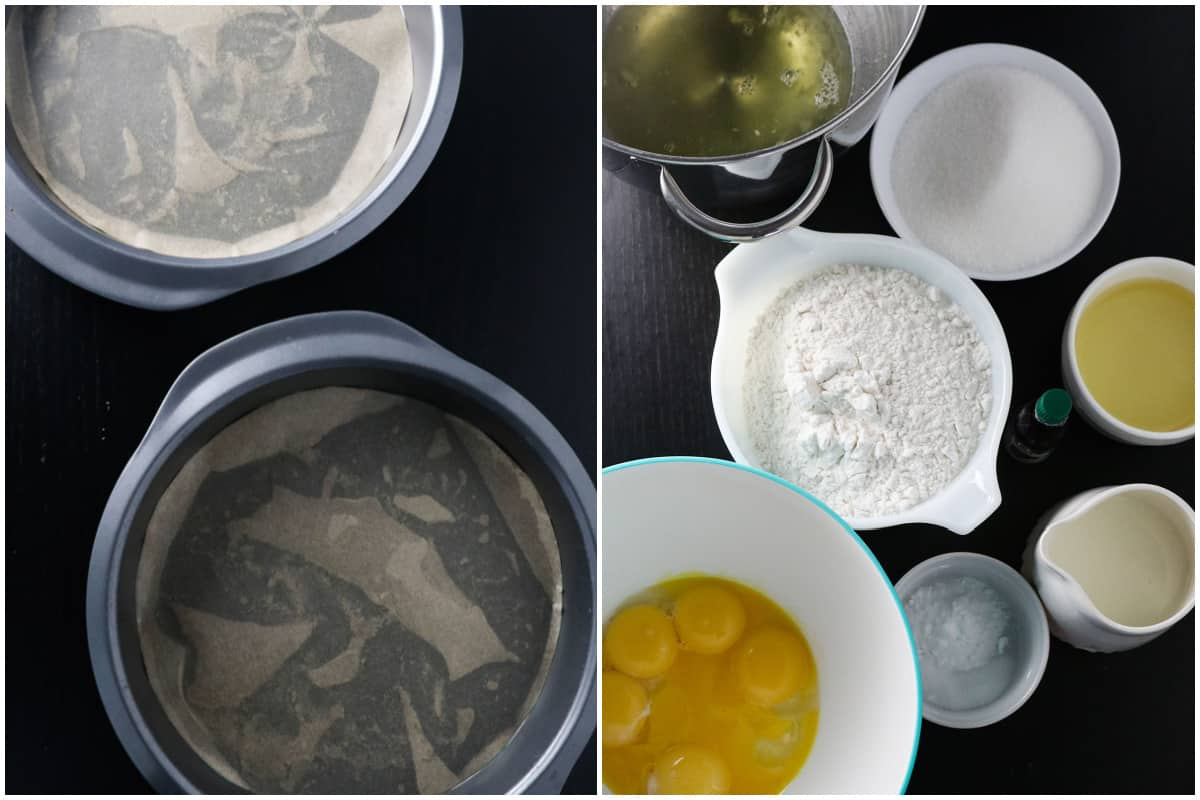 Round baking pans lined with parchment paper on the left and the ingredients for ube cake on the right.