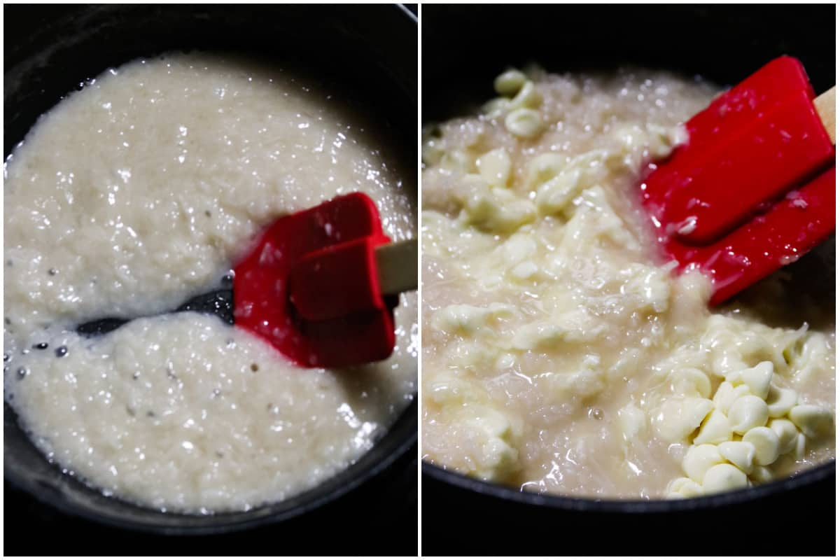 The coconut milk and dried coconut cooking together on the left, then stirring in the white chocolate on the right.