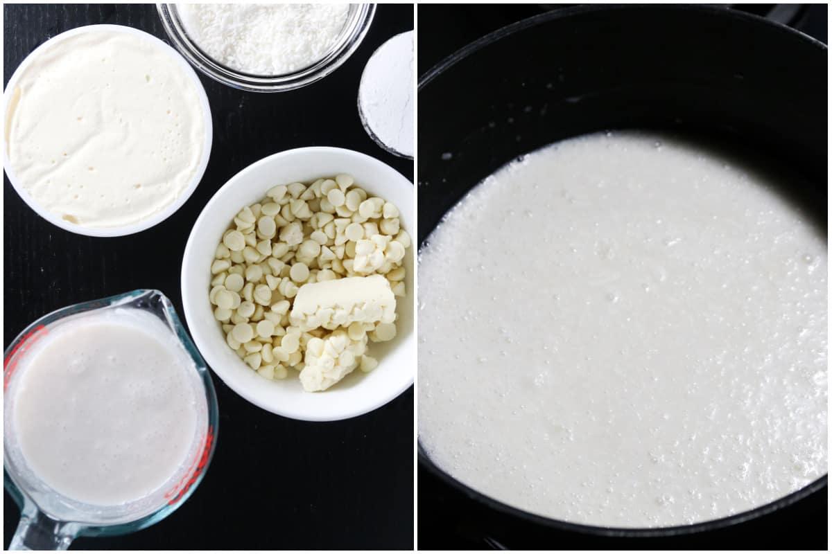 Making the white chocolate coconut cream.