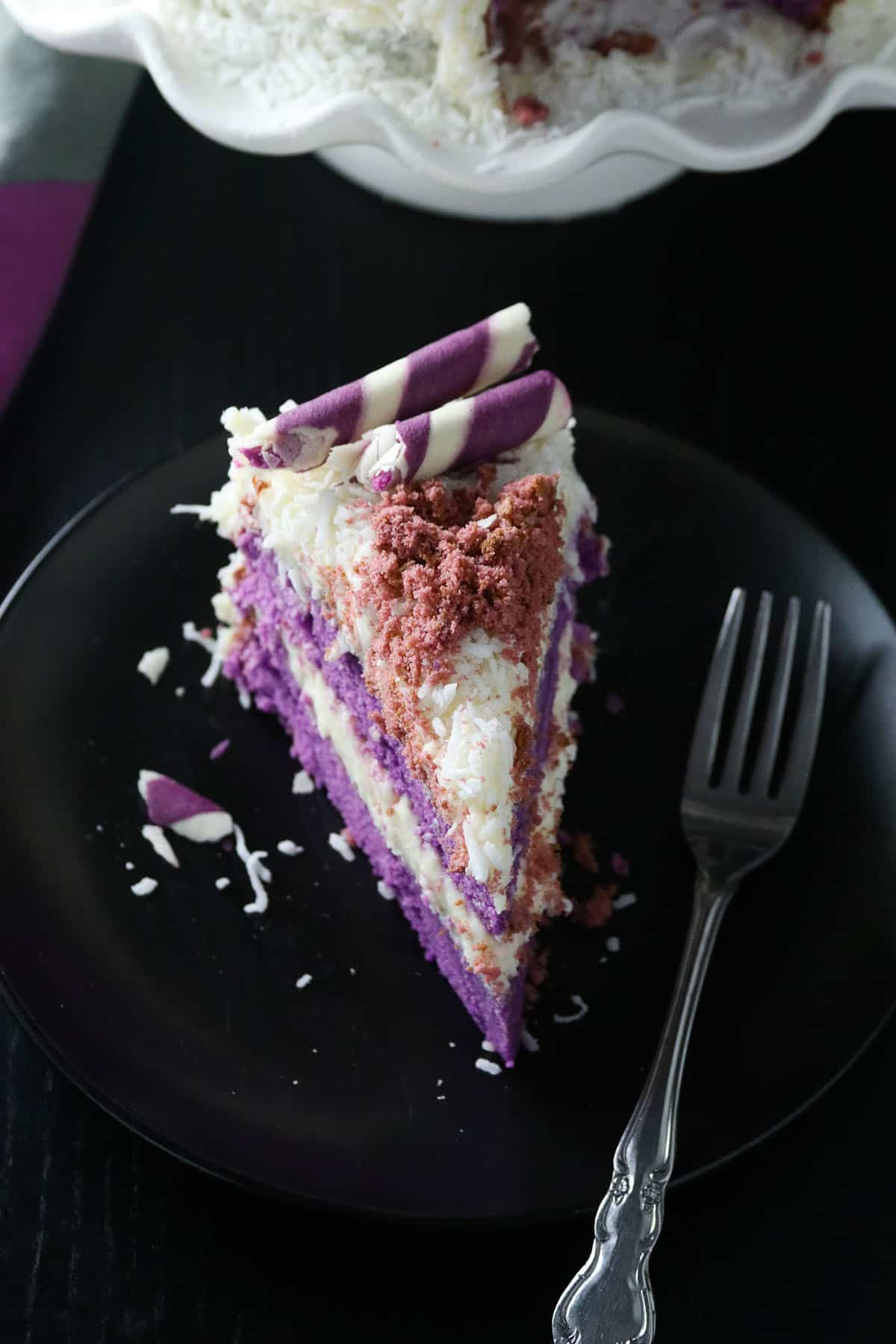 Ube cake with white chocolate coconut cream.