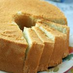 Closer shot of vanilla chiffon cake.