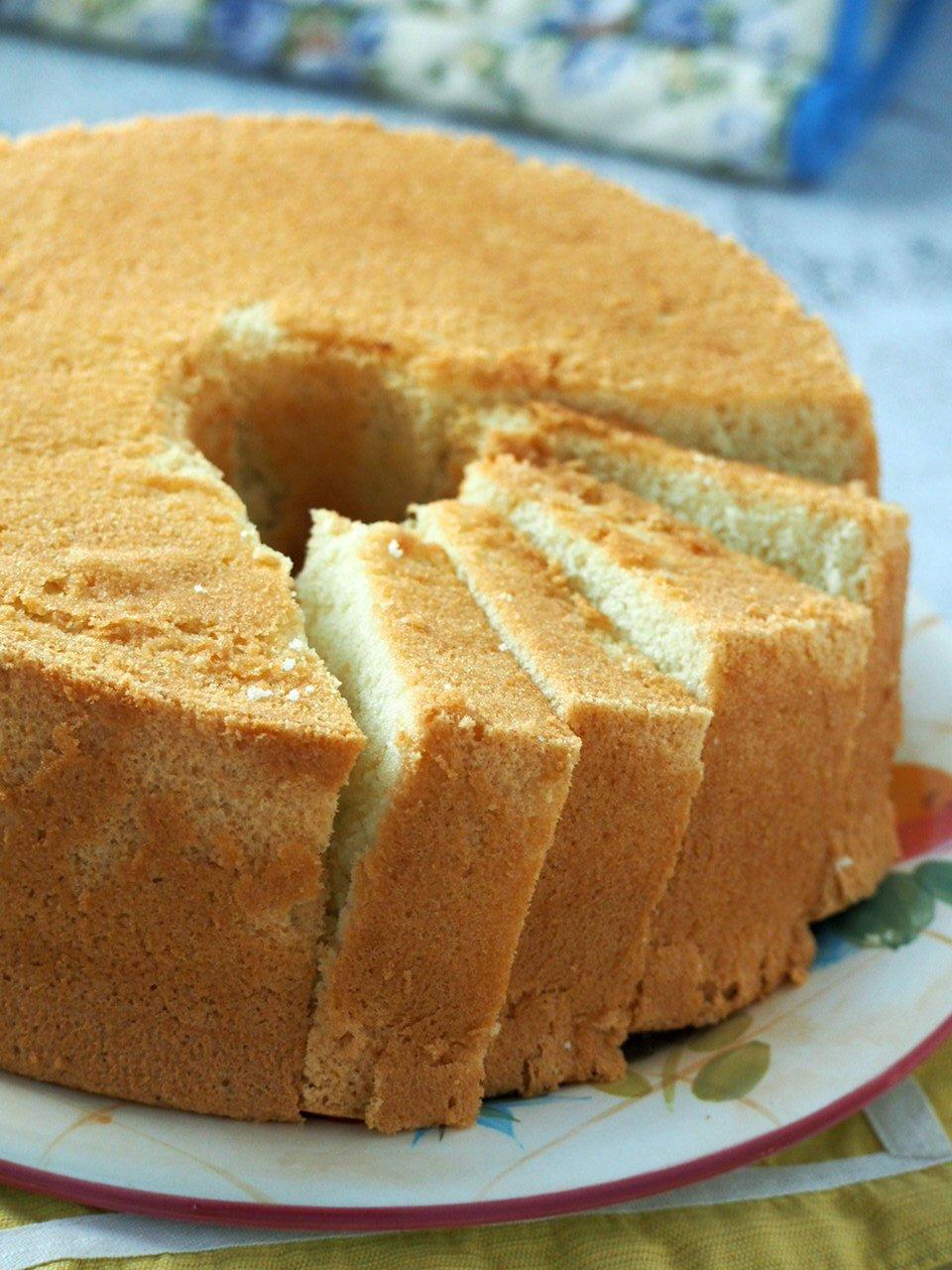 Closer shot of vanilla chiffon cake.