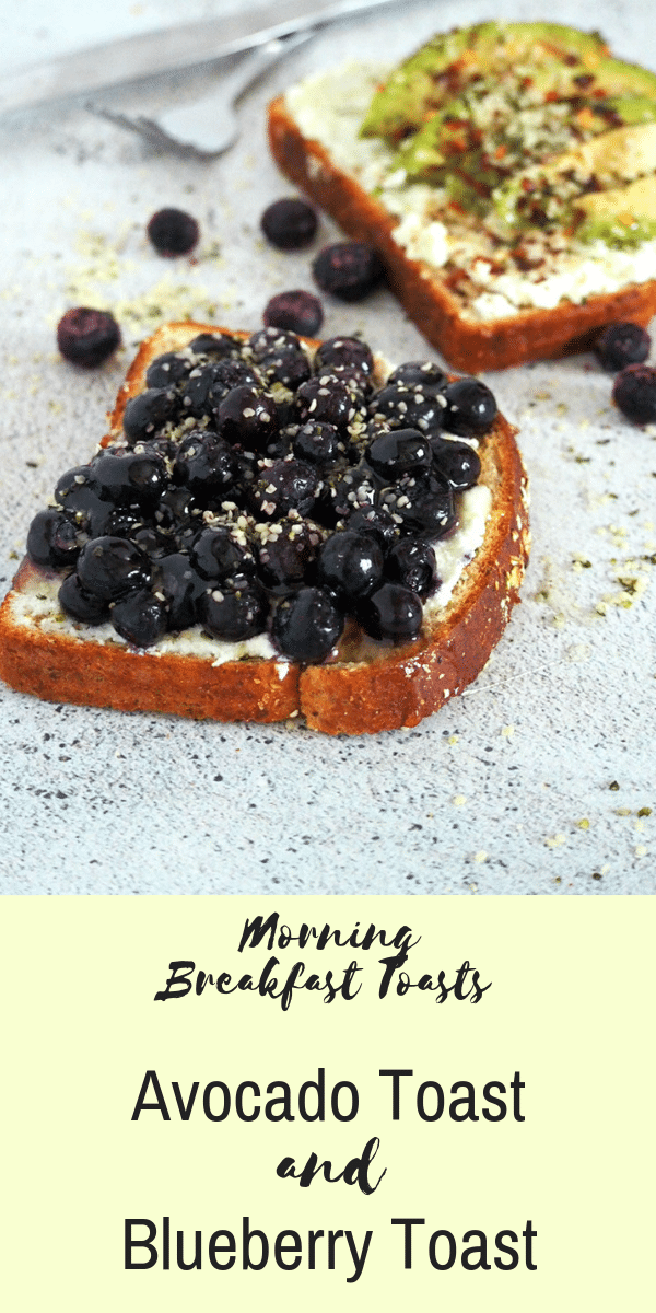 The perfect morning breakfast toasts! Savory avocado toasts with a hint of heat and the sweet and juicy blueberry toasts is the perfect breakfast combination. #breakfasttoasts #blueberrytoasts #avocadotoasts #breakfast