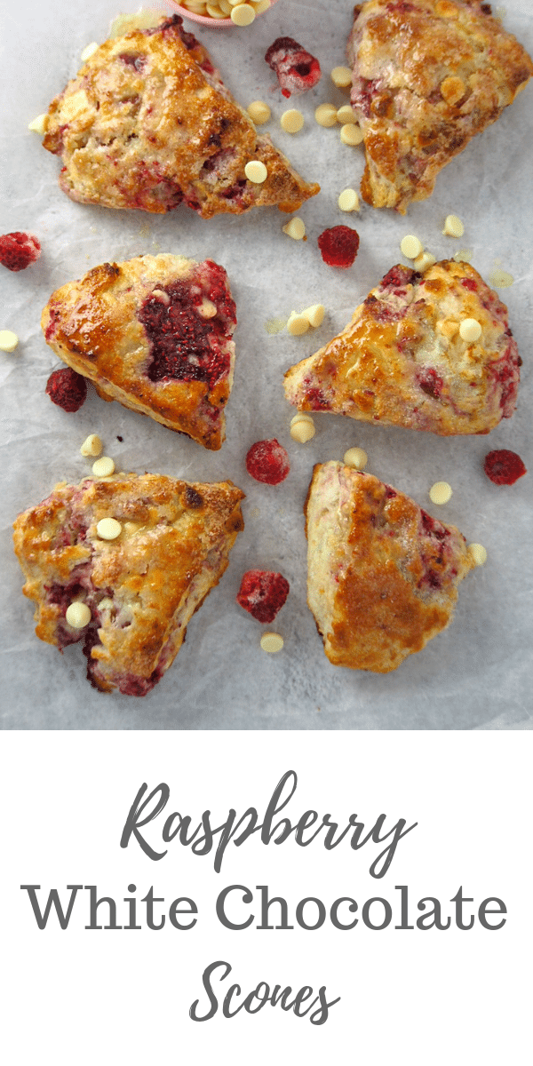 Raspberry White Chocolate Scones! Tender-crisp crumbs, bright berry flavor and the sweet white chocolate all meld together in these extra special breakfast scones. #scones #raspberries #whitechocolateScones | Woman Scribbles