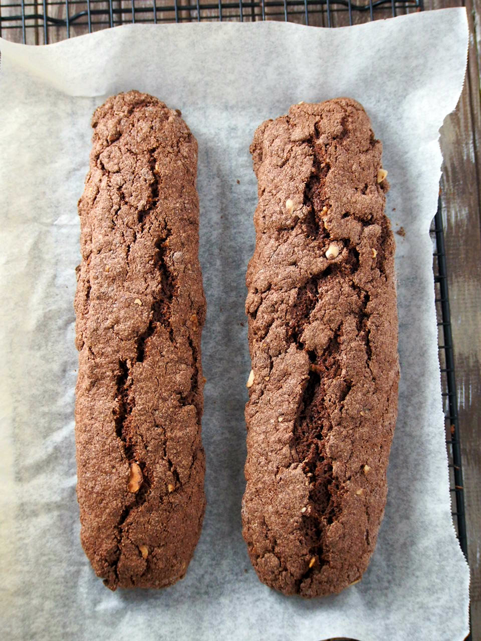 The biscotti after the first baking.