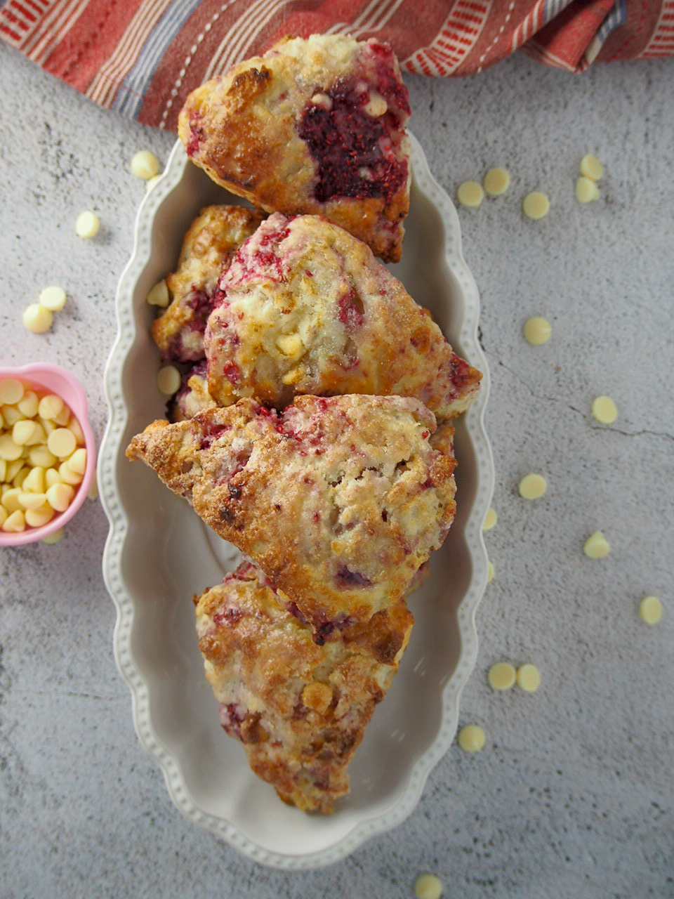 Raspberry Scones on a serving plate.