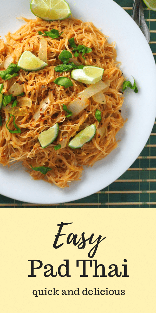 Do you need a quick Asian noodle fix? This Easy Pad Thai is a simple way to make the favorite Asian noodle without lacking in flavor. It is guaranteed to be delicious, tasty and fast. #AsianNoodles # Thaifood #noodles #padthai