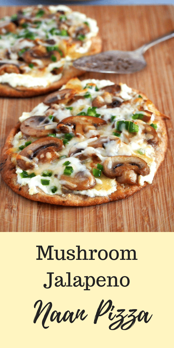Quick and tasty Mushroom Jalapeno Naan Pizza is what you need to fix a pizza craving anytime. #pizza #NaanBread #MushroomPizza #JalapenoPizza