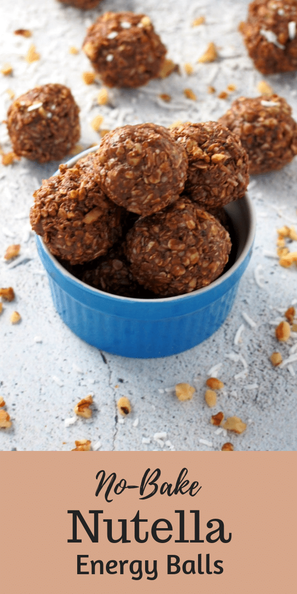 These No Bake Nutella Energy Balls are perfectly portioned bites of Nutella goodness that gives you a quick sweet fix and energy boost. #Nutella #no-Bake #energyballs | Woman Scribbles