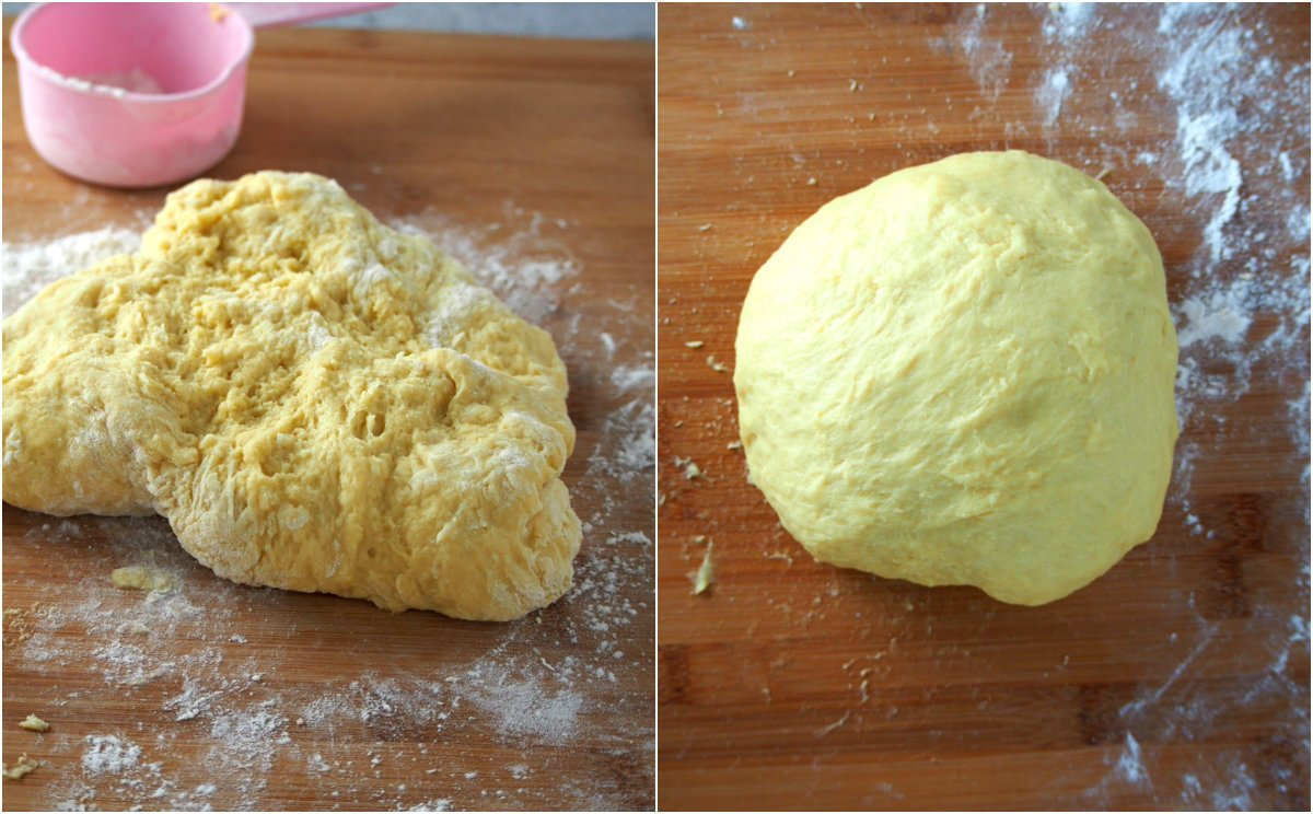 Spanish Bread dough before and after kneading.