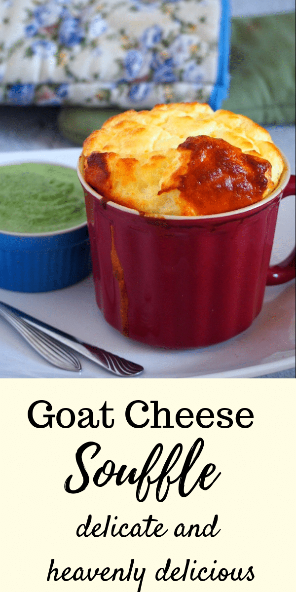 Delicate, airy and soft, this Goat Cheese Souffle is a perfect side dish to almost anything. Mildly cheesy and custardy, you can enjoy it on its own, too. #souffle #goatcheese #cheesesouffle